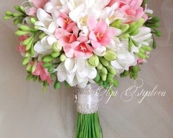 White, pink freesia bouquet with boutonniere. Clay Wedding Bouquet, Freesia bridal bouquet. Handmade bouquet