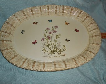 Italian Butterfly Tray Wood Made in Italy 20 x 14 x 2