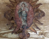 Reserved for Elizabeth! Painted European Processional Finial 18th Century