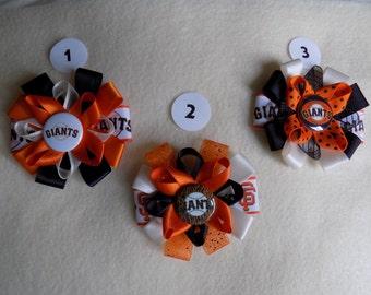 MLB San Francisco Giants bow clip barrette black orange cream