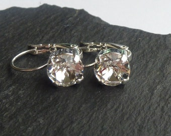 Shiny Silver/AntiqueSilver/Antique Brass/Gold Plated Leverback Earrings made with Clear Swarovski Crystal Elements. Earrings by Lady C
