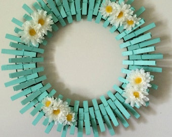 Beach Glass/Mint Handpainted Decorative Clothespins Wreath