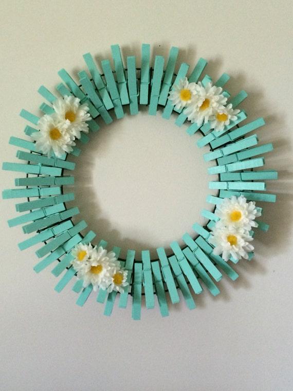 Beach Glass/Mint Handpainted Decorative Clothespins Wreath
