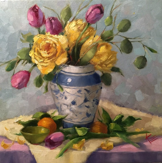 Sunflower & Tulips Daisies Still Life14x14