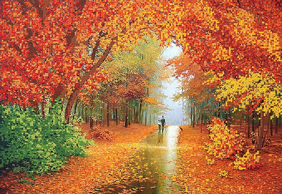 Romantic autumn bead embroidery kit, embroidered painting set, DIY wall decor