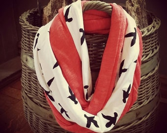 Scarf, Infinity Scarf, Wrap, Coral Sweater and Birds