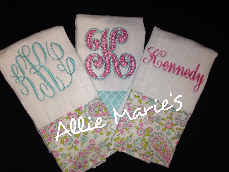Baby burp cloth Burp cloths Embroidered burp cloths by