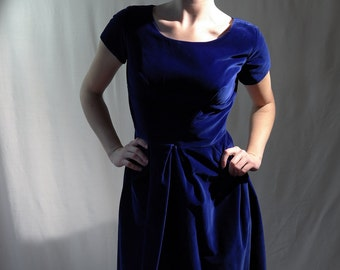 Cobalt blue cottonvelvet late 50's early 60's frock dress by Belvera Fashions of Sydney