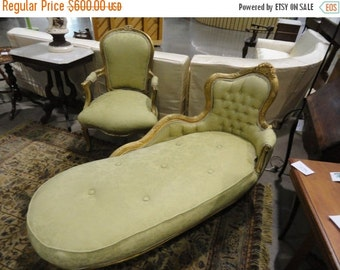 SALE ON SALE Fabulous Antique French Fainting Sofa Light Green Upholstery