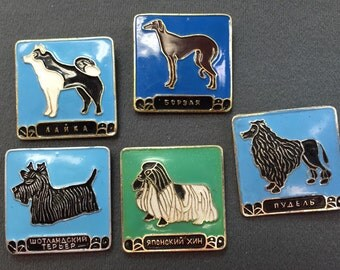 Russian Dog Pin Brooches