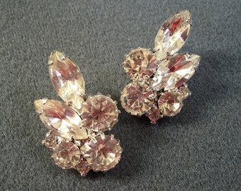 High-quality Clear Prong-set Rhinestone Clip Earrings.  Free shipping