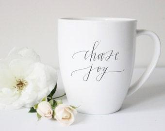 choose joy coffee mug/ white mug, dark grey lettering// 11 0z
