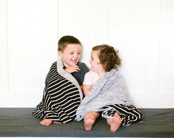 Gray and black and white stripe throw blanket