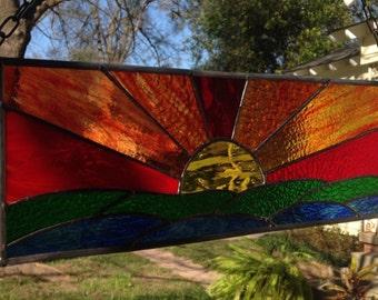 Sunset Stained Glass Window Panel Large Suncatcher 19x6