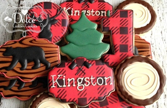 Lumberjack Woodland Animal Plaid Birthday First Birthday Baby Shower Cookies