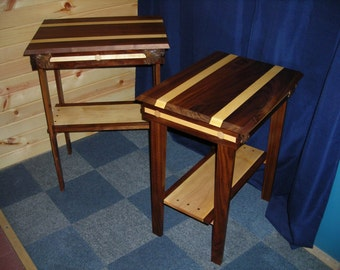 Handmade Bedside Table, Rich Accent Wood Furniture Art