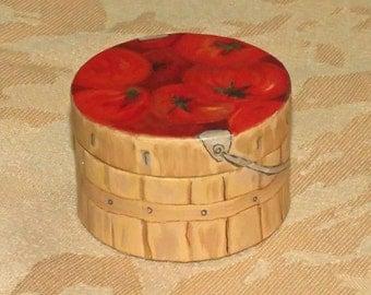 "A small handpainted paper mache box ""Tomato Basket"""