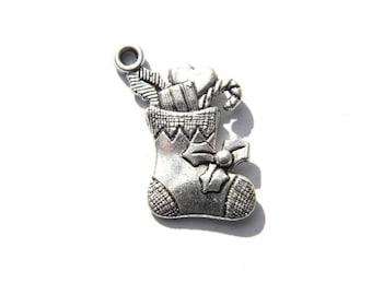 6 Silver Christmas Stockings Charms
