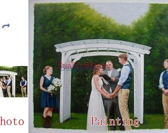 Custom portrait painting,Wedding oil portrait,oil painting from photo,order hand painted oil paintings,Five Person