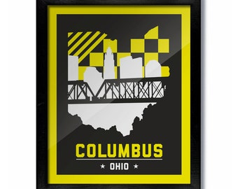 Columbus, Ohio Skyline Poster Print: Wall Art Choose a Size - Crew Soccer