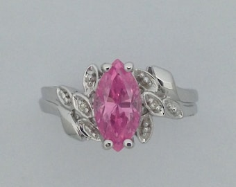 Natural Diamond with Pink Cubic Zirconia Ring 925 Sterling Silver