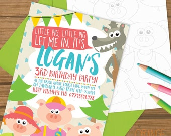 5 X THREE LITTLE PIGS Personalised Birthday Party Invitation Stationary Big Bad Wolf Colour In
