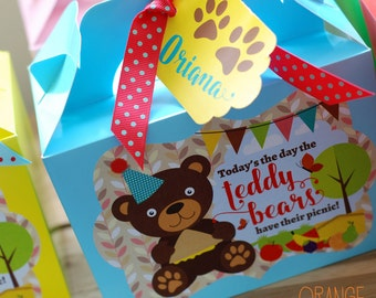 Personalised Children's Teddy Bears Picnic Party Bag Box Lunch Activity Stationary