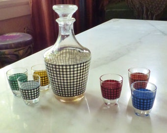 Vintage Decanter and Shot Glasses French Bar Ware
