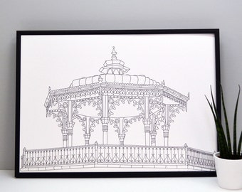 Bandstand Landscape Print - Brighton print - home decor - gifts for home - illustrative print - building print - coastal print
