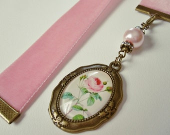 Dusty Rose Velvet Ribbon Bookmark w/Rose Cabochon charm