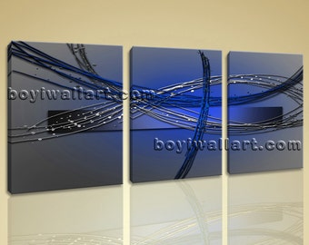 """Large Stretched Modern Abstract Painting Home Decor Wall Art Print Canvas Blue, Abstract print,  prints, 50""""x24"""""""