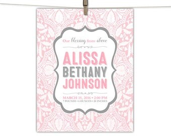 Custom birth stats print - pink and gray nursery wall art - personalized new baby gift girl - birth announcement printable, print or canvas