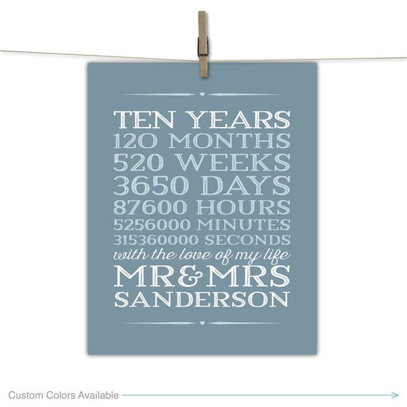 10th Wedding Anniversary Gift Husband : 10 year anniversary gift for men, 10th wedding anniversary, 10 years ...