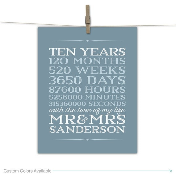 10th Wedding Anniversary Gifts For Husband Uk : 10 year anniversary gift for men, 10th wedding anniversary, 10 years ...
