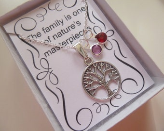 Birthstone Family Tree Necklace, Mother's Necklace, Grandmother's Necklace, Family Tree Necklace, Mother's Day Necklace, Birthstone Gift N