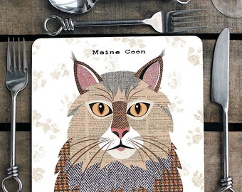 Maine Coon cat personalised placemat/coaster