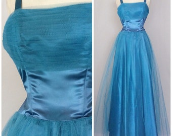 Vintage 40s 50s blue tulle & satin gown. S