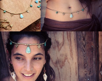 Macrame headband LARIMAR and real turquoise stones Mermaid jewelry Tribal Headpiece Art of Goddess natural stones