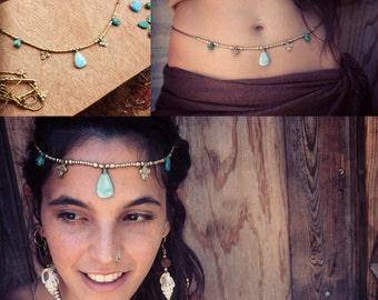 Macrame headband LARIMAR and real turquoise stones Mermaid jewelry Tribal Headpiece Art of Goddess natural stones