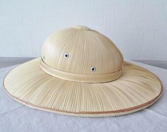 Vintage Straw Hat Colonial Style Bamboo Rattan Safari Hat, Pith Helmet, Sun Hat, Beach Hat, Garden Hat @131