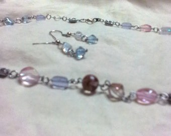Winter color themed necklace and pierced earrings