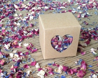 Set of 20 boxes of Dried Petal Confetti Kraft Vintage style