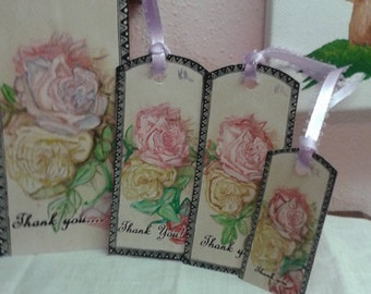 Shabby Chic Rose Stationery Set/Handpainted Roses Stationery Set/Cottage Decor Note Cards/Rose Artwork/Handpainted Watercolor Roses/Set of 5
