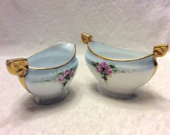 Imperial PSL Austria sugar bowl and creamer. Vintage 1940s