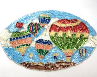 "Sale! Hot Air Balloon Scene Applique, Sequin Beaded, 13"" x 8.5""   -B094-0440-0122-0121"