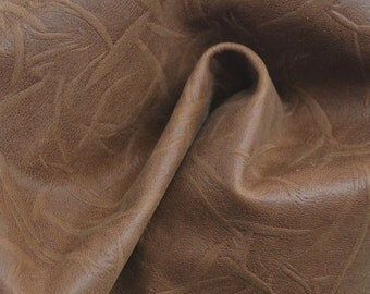"Medium Brown Creased Leather Cow Hide 12"" x 12"" Pre-cut 1 1/2 ounces TA-39055 (Sec. 5,Shelf 6,B)"