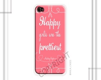 "Audrey Hepburn iPhone 6 Case, ""Happy Girls are the Prettiest"", Quote iPhone 5 Case, Audrey Hepburn Quote iPhone 4 Case, Pink iPhone 6s Case"