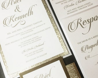 White and Gold Glitter Wedding Invitation - Glitter Wedding Invitations, Elegant Wedding Invitations, Formal Wedding Invitations, Glam