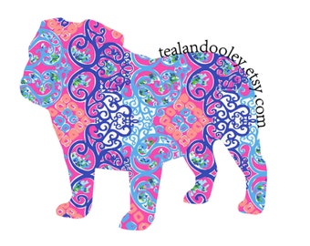Lilly Pulitzer Inspired English Bulldog Vinyl Decal