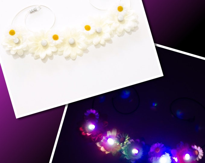 White Daisy LED Flower Crown
